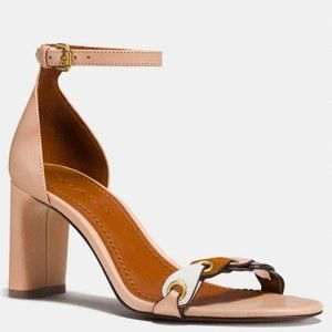 NWT COACH Beige Ankle Strap Chunky Heel Sandals 9